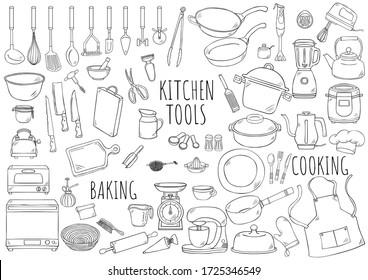 Hand drawn illustration kitchen tools.