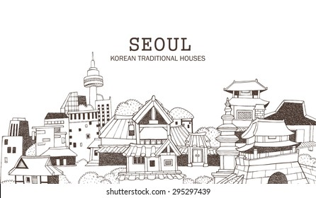 Hand drawn illustration in line art featuring the modern and old section of a city. Korean architecture of traditional houses and historical monuments representing Seoul.