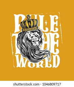 Hand drawn illustration of lion with crown, king, tshirt print, vector illustration