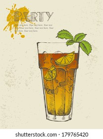 Hand drawn illustration of Long island iced tea cocktail.