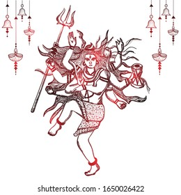 Hand drawn illustration of lord shiva in hindu mythology with red shine . Sketch of Lord shiva in Natraj dance for shivratri or mahashivratri.