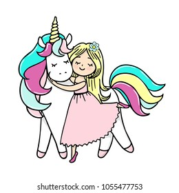 Hand drawn illustration of a magic unicorn with a girl. Vector isolated illustration.