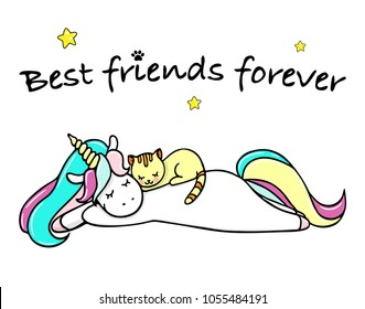 Hand drawn illustration of a magic unicorn and cat. Best friends forever. Vector isolated illustration