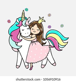 Hand drawn illustration of a magic unicorn wih a princess. Vector isolated illustration