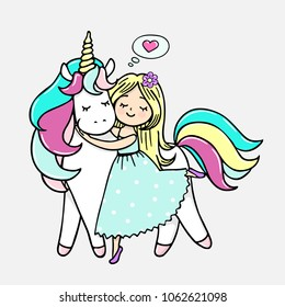 Hand drawn illustration of a magic unicorn with a girl. Vector isolated illustration