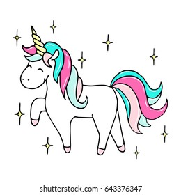 Hand drawn illustration of a magic unicorn with stars. Vector isolated illustration