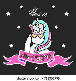 Hand drawn illustration of magic unicorn. You Are Awesome text. Vector isolated illustration. Can be used for greeting, birthday and invitation card