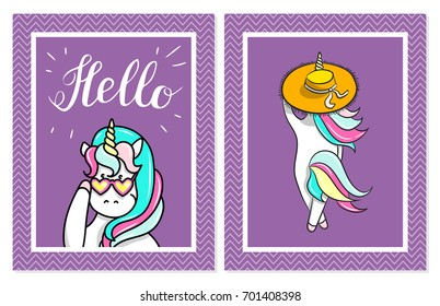 Hand drawn illustration of magic unicorns. Hello text. Can be used for greeting, birthday and invitation card.