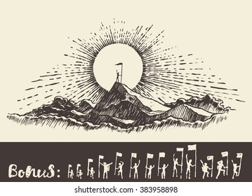 Hand drawn illustration of a man on top of a mountain at sunrise, winner concept, sketch