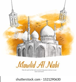 Hand drawn Illustration of Mawlid Al Nabi celebration Background . Mawlid al Nabi is Mean the Day of Prophet Muhammad is born. Vector Islamic Background with Calligraphy and Mosque.