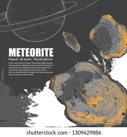 hand drawn illustration of Meteorite. space background with Saturn.
