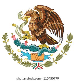 hand drawn illustration of Mexico coat of arms.
