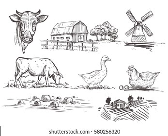 hand drawn illustration with mill, farm, cow and goose and chicken and haystacks and trees sketches. vector set