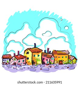 Hand drawn  illustration of an old city street background. Medieval town. European. Bright painted. Vector art. For print, as card or design element.