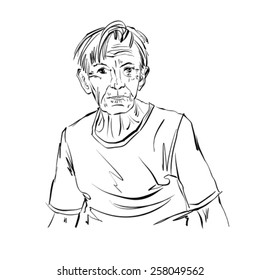 Hand drawn illustration of an old man on white background, black and white drawing.