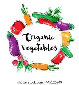 Hand drawn illustration with organic vegetables. Carrot, cucumber, tomato, paprika, pepper, eggplant, dill, radish