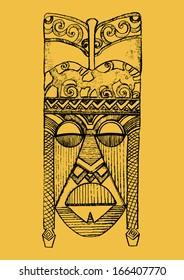 Hand drawn illustration. Ornamental element.African mask.