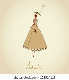 Hand drawn illustration and place for your text. Template with image of girl. Illustration set Four Seasons. Autumn