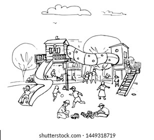 hand drawn illustration of playground kids,park,line drawing,children playing in the playground