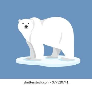 Hand drawn illustration of polar bear. Polar bear standing on ice floe, side view. Flat style
