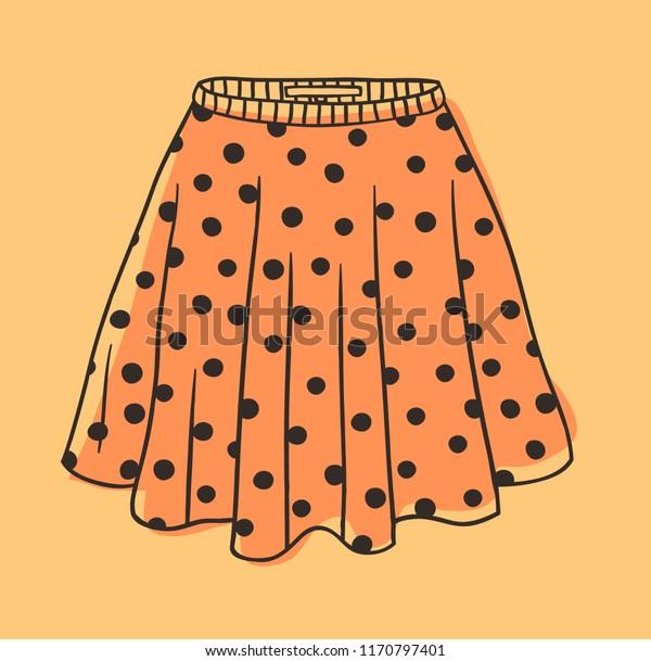 Hand Drawn Illustration Polka Dots Skirt Stock Vector Royalty Free 1170797401