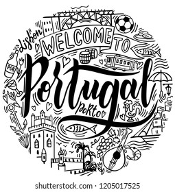 Hand drawn illustration of Portugal with lettering and symbols of the country. Portugal landscape.