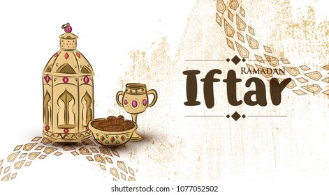 Hand drawn Illustration of Ramadan Kareem islamic design & Iftar Party with arabic pattern on Grunge Background.