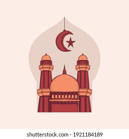Hand drawn illustration of Ramadan Kareem Iftar party celebration. Islamic Holy Month 1442 H (Ramadan Mubarak). Can used for Greeting card, flyer, poster, banner. Vector illustration