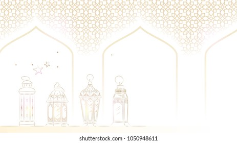 Hand Drawn Illustration of Ramadan Lanterns with Golden Lights on White Background. Vector Illustration