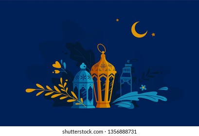 Hand Drawn Illustration of Ramadan Lanterns with Floral Elements on Dark Blue Background. Vector Illustration