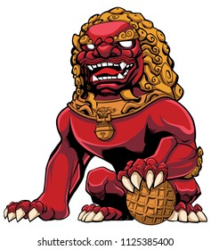 Hand drawn illustration of red Chinese lion.