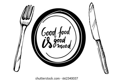 Hand drawn illustration for restaurants, cafe, menu. Plate, fork, knife and pancakes. Good food is good mood.