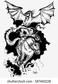 Hand drawn illustration with rider, horse and dragon. Can be used  for print on T-shirts and bags or book illustration. Vector