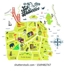 Hand drawn illustration of San Fransisco with tourist attractions. Travel  concept. Print design.