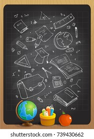 Hand drawn illustration of school tools on a chalkboard. Teachers day, back to school poster concept