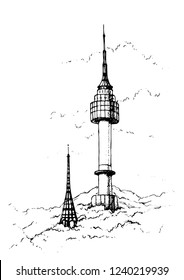 Hand drawn illustration  of Seoul tower,Namsan tower in korea.N seoul tower .South Korea.Sketch.