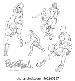 hand drawn illustration set of basketball player.