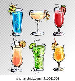 Hand drawn illustration of set of cocktails