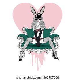 hand drawn illustration of  sexy woman in bunny mask dressed up  in underwear sitting on sofa, boudoir style, fashion illustration