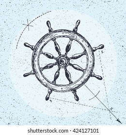 Hand drawn illustration of ship's wheel in line art style with engraved elements. Tattoo isolated on vintage background.