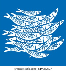 Hand Drawn Illustration a shoals of fish in the water. Sardine (sardina pilchardus)