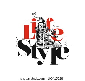 Hand drawn illustration of shoes and sipper, text, vector illustration