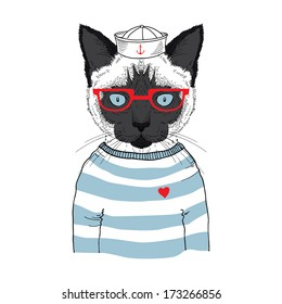 Hand drawn illustration of siamese cat sailor isolated on white