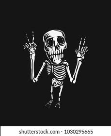Hand drawn illustration of skeleton, posing, tshirt print, vector illustration