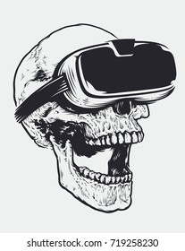 Hand drawn illustration of skull with virtual reality device. Open mouth experiencing emotions. Dead person in virtual reality glasses. Conceptual vector art.