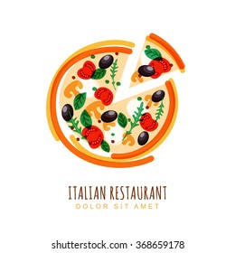 Hand drawn illustration of sliced italian pizza with tomato, mushrooms, olives, basil, and mozzarella. Vector logo design template. Trendy concept for, restaurant menu, cafe, fast food, pizzeria.