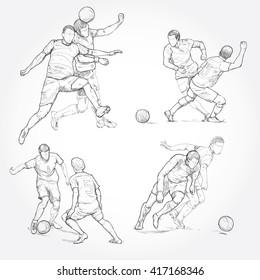 hand drawn illustration of soccer player. soccer vector illustration
