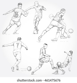 hand drawn illustration of  soccer player in action. soccer vector illustration.