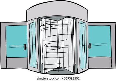 Hand drawn illustration of spinning revolving door