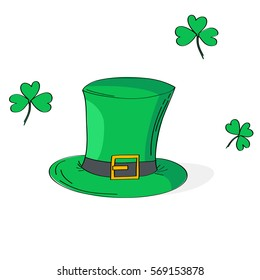 Hand drawn illustration of St Patrick's hat and shamrock leaves